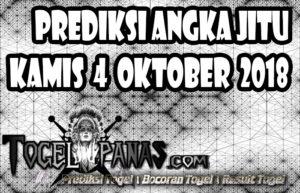 Prediksi Angka Jitu Togel Kamis 4 Oktober 2018